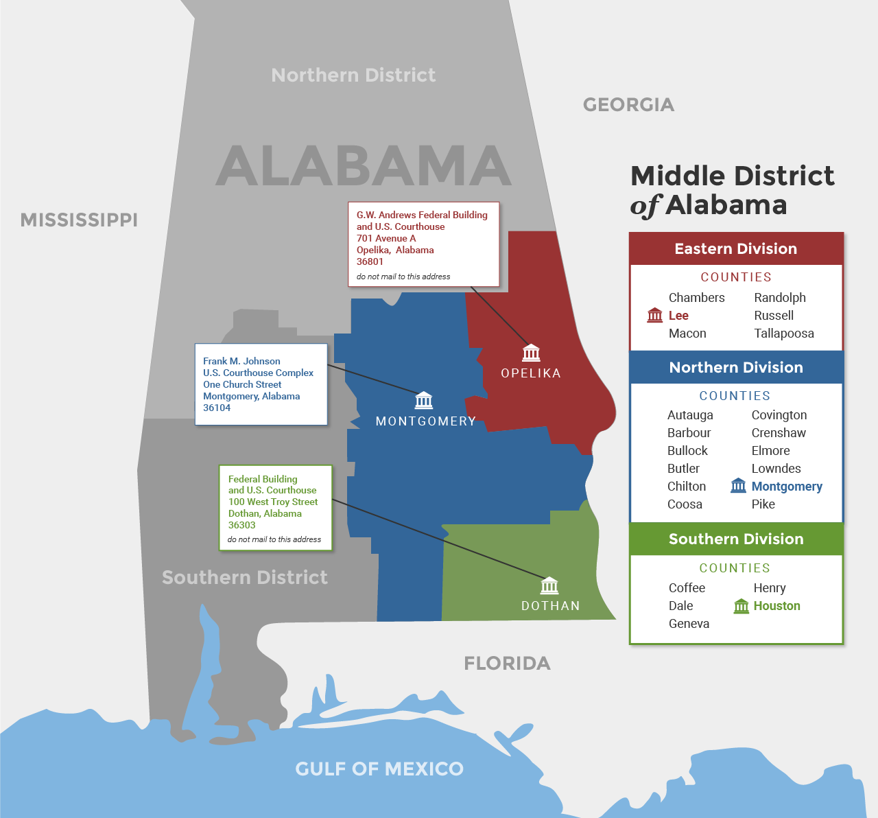Alabama Middle District Map